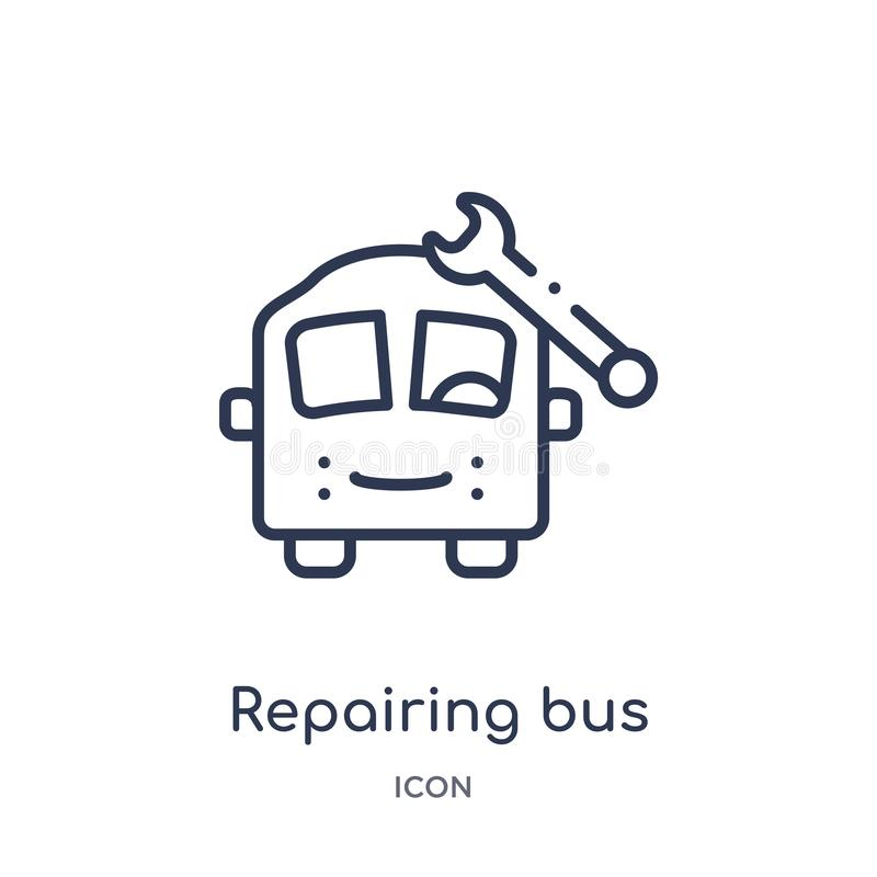 Linear repairing bus icon from Mechanicons outline collection. Thin line repairing bus icon isolated on white background. stock illustration