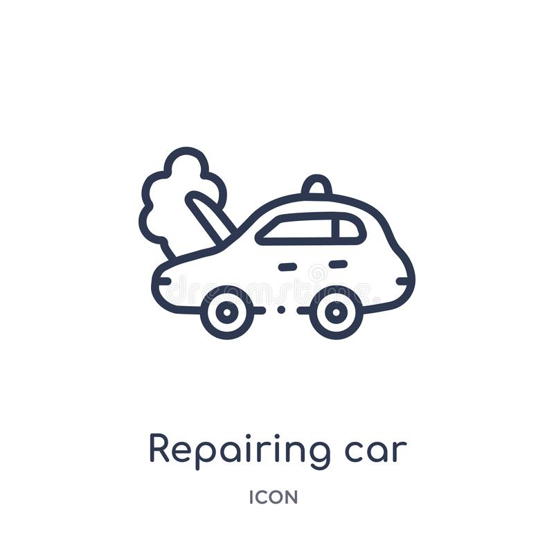 Linear repairing car icon from Mechanicons outline collection. Thin line repairing car icon isolated on white background. royalty free illustration