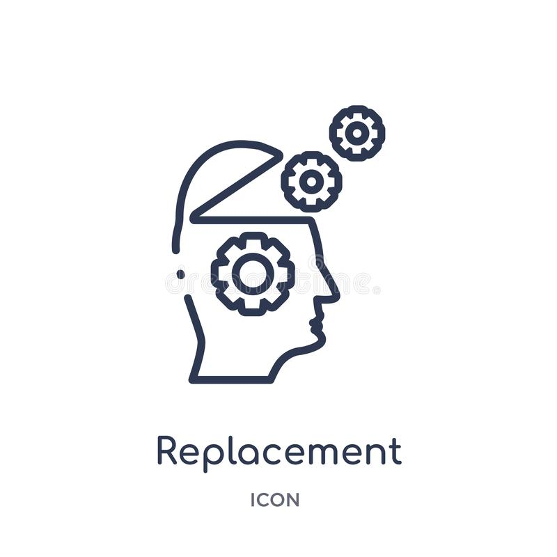 Linear replacement icon from Artificial intellegence and future technology outline collection. Thin line replacement vector royalty free illustration