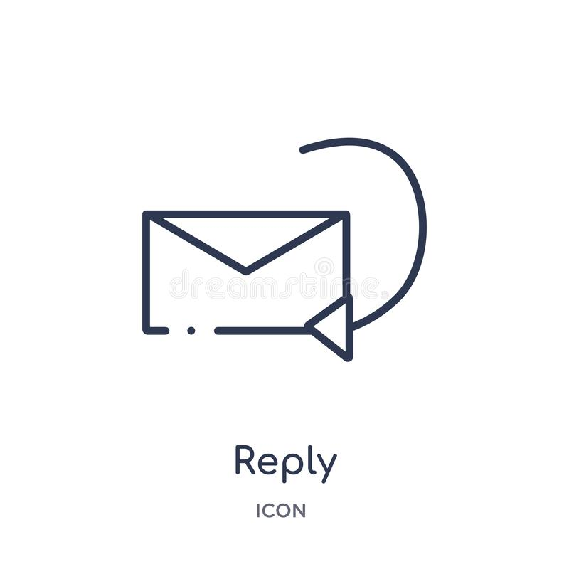 Linear reply icon from Content outline collection. Thin line reply vector isolated on white background. reply trendy illustration stock illustration
