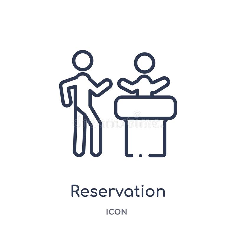 Linear reservation icon from Hotel and restaurant outline collection. Thin line reservation icon isolated on white background. stock illustration