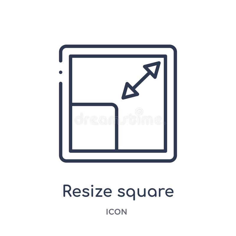 Linear resize o ícone quadrado da coleção do esboço da medida A linha fina resize o ícone quadrado isolado no fundo branco resize ilustração do vetor
