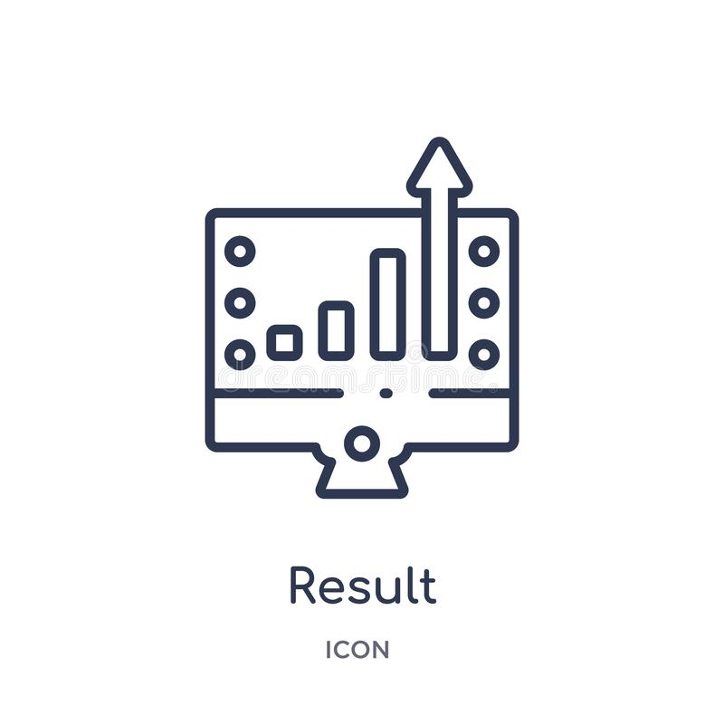 Linear result icon from Marketing outline collection. Thin line result icon isolated on white background. result trendy royalty free illustration