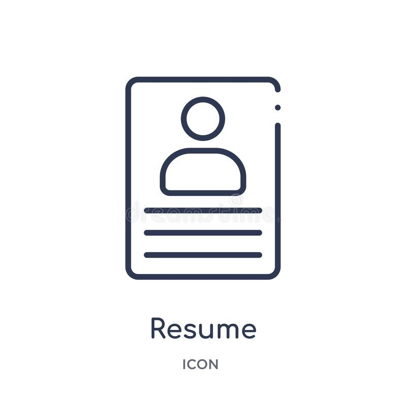 Linear resume icon from Human resources outline collection. Thin line resume icon isolated on white background. resume trendy royalty free illustration
