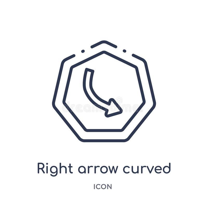 Linear right arrow curved icon from Arrows outline collection. Thin line right arrow curved vector isolated on white background. royalty free illustration