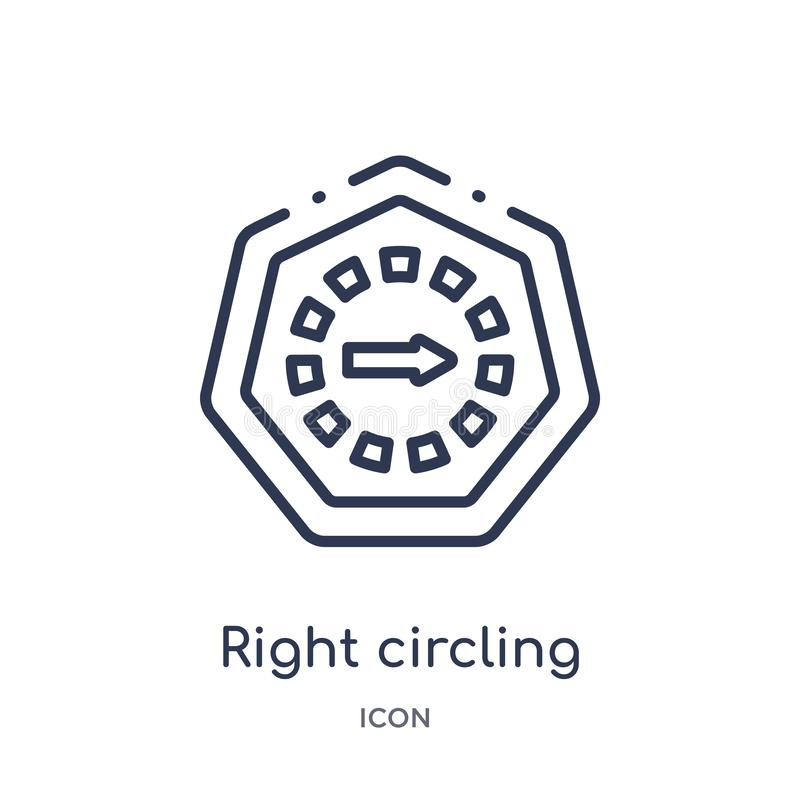 Linear right circling arrow icon from Arrows outline collection. Thin line right circling arrow vector isolated on white. Background. right circling arrow royalty free illustration