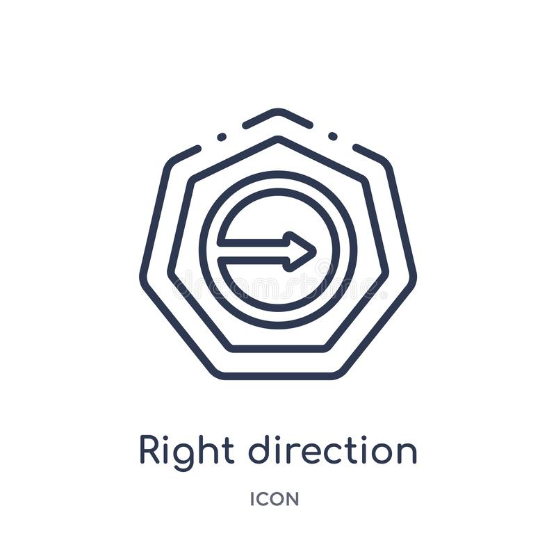 Linear right direction icon from Arrows outline collection. Thin line right direction vector isolated on white background. right vector illustration