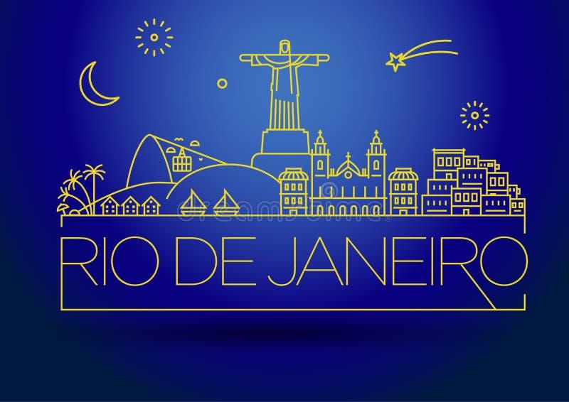 Linear Rio de Janeiro City Silhouette mit Typografischem Design vektor abbildung