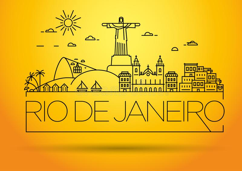 Linear Rio de Janeiro City Silhouette mit Typografischem Design stock abbildung