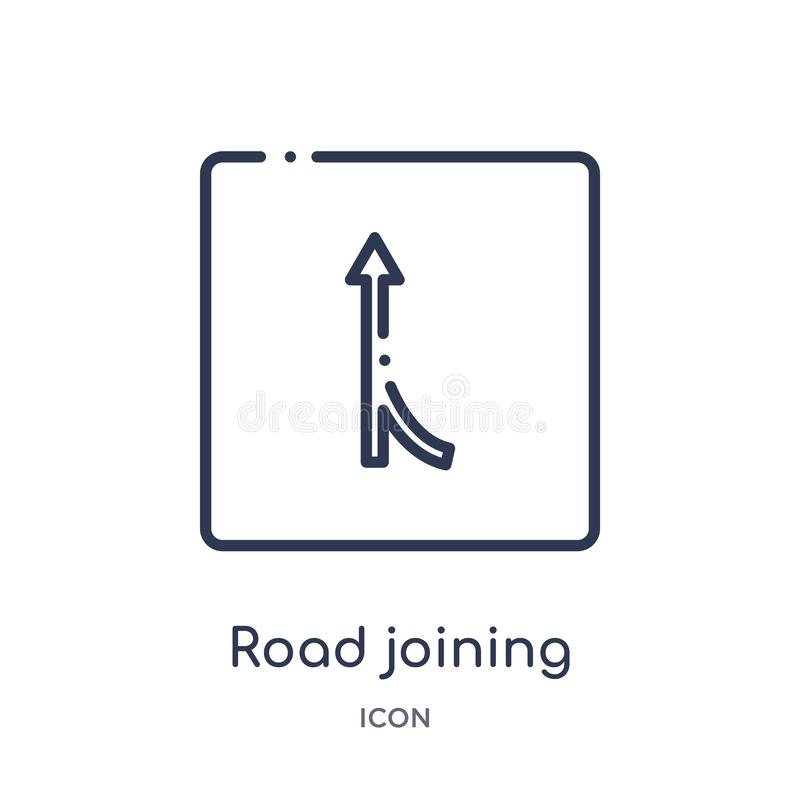 Linear road joining icon from Maps and Flags outline collection. Thin line road joining icon isolated on white background. road stock illustration