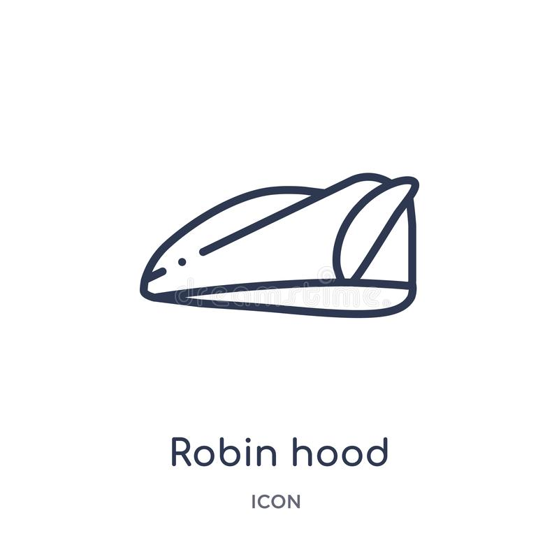 Linear robin hood icon from Education outline collection. Thin line robin hood vector isolated on white background. robin hood vector illustration