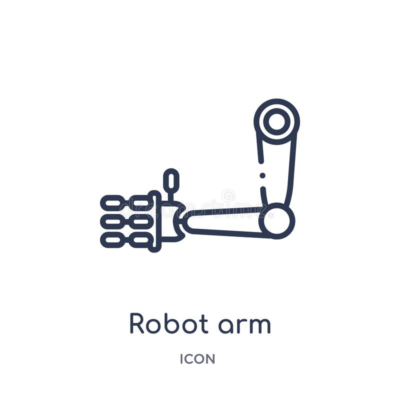 Linear robot arm icon from Future technology outline collection. Thin line robot arm icon isolated on white background. robot arm stock illustration