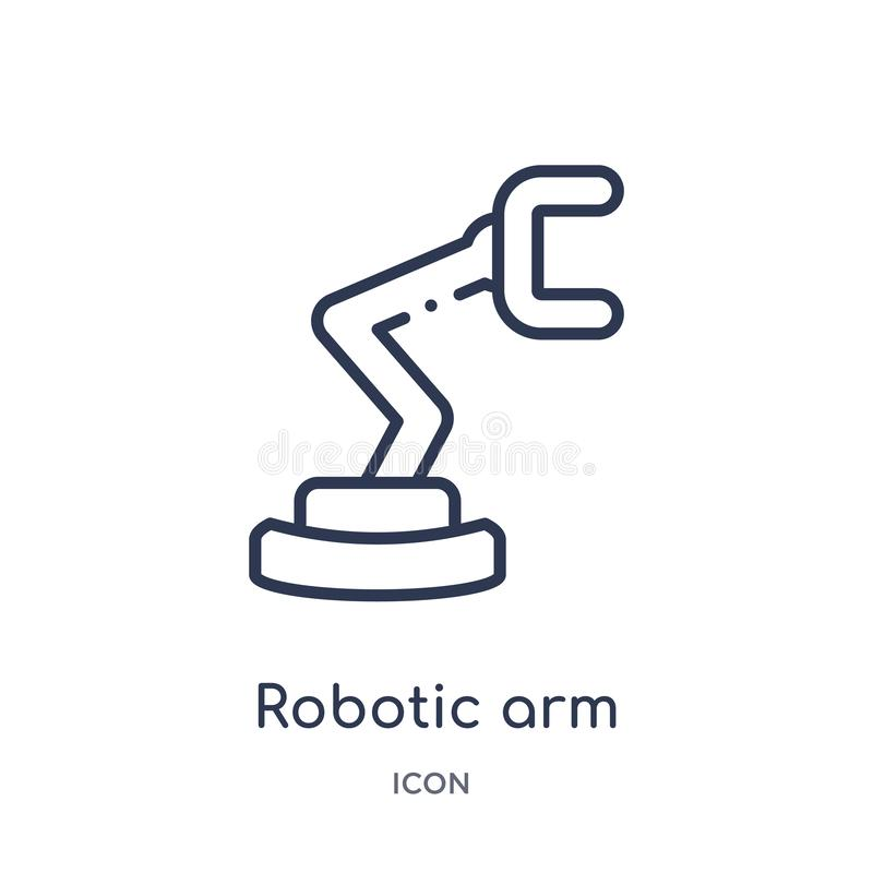 Linear robotic arm icon from Industry outline collection. Thin line robotic arm icon isolated on white background. robotic arm vector illustration