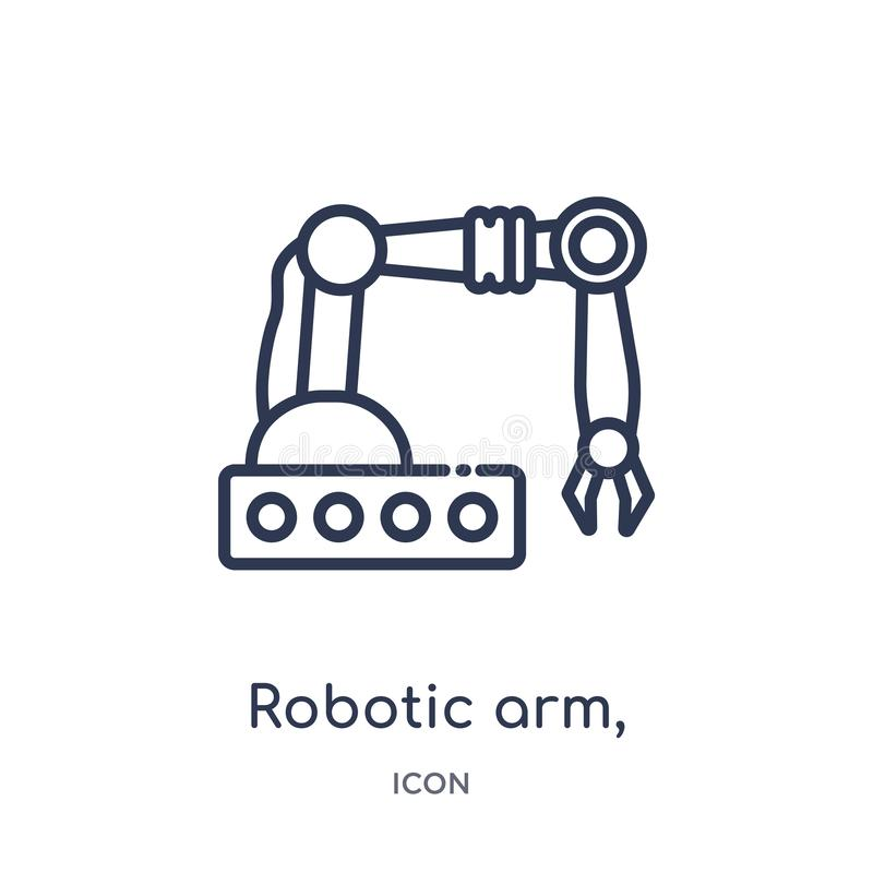 Linear robotic arm, icon from Industry outline collection. Thin line robotic arm, icon isolated on white background. robotic arm, stock illustration