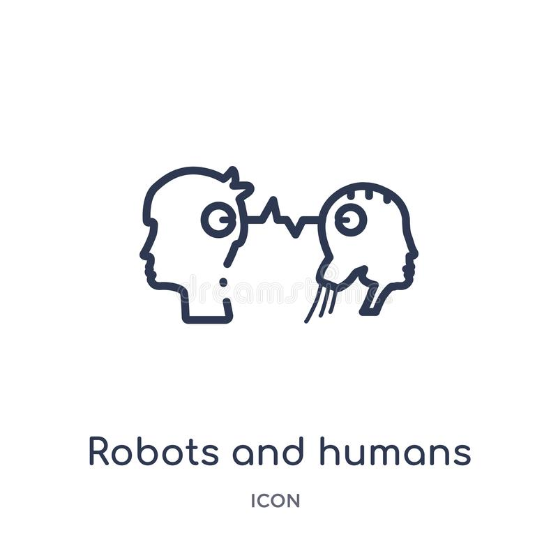 Linear robots and humans icon from Artificial intellegence and future technology outline collection. Thin line robots and humans vector illustration