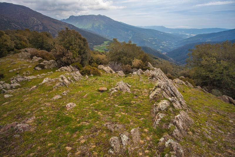 Linear rock formations on the Catalan highland. The Catalan highlands in Northeastern Catalonia often show spectacular linear rock formations on the peaks royalty free stock photography