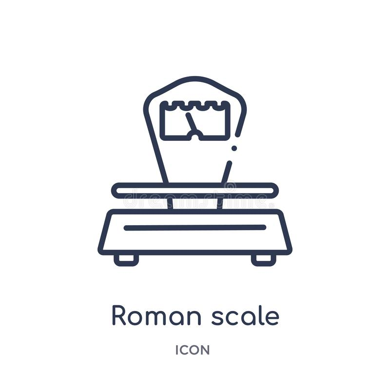 Linear roman scale icon from Measurement outline collection. Thin line roman scale icon isolated on white background. roman scale royalty free illustration