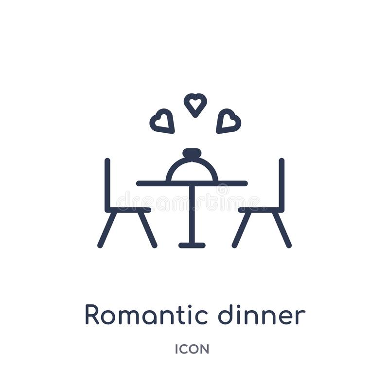 Linear romantic dinner icon from Birthday party outline collection. Thin line romantic dinner vector isolated on white background vector illustration