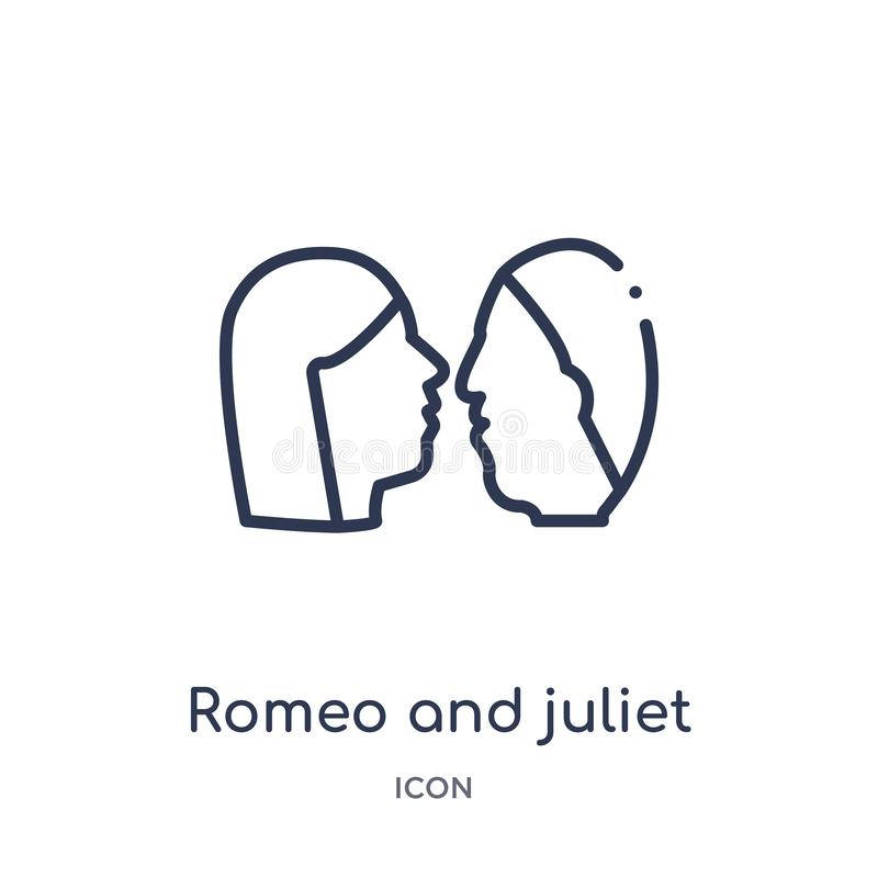 Linear romeo and juliet icon from Education outline collection. Thin line romeo and juliet vector isolated on white background. vector illustration