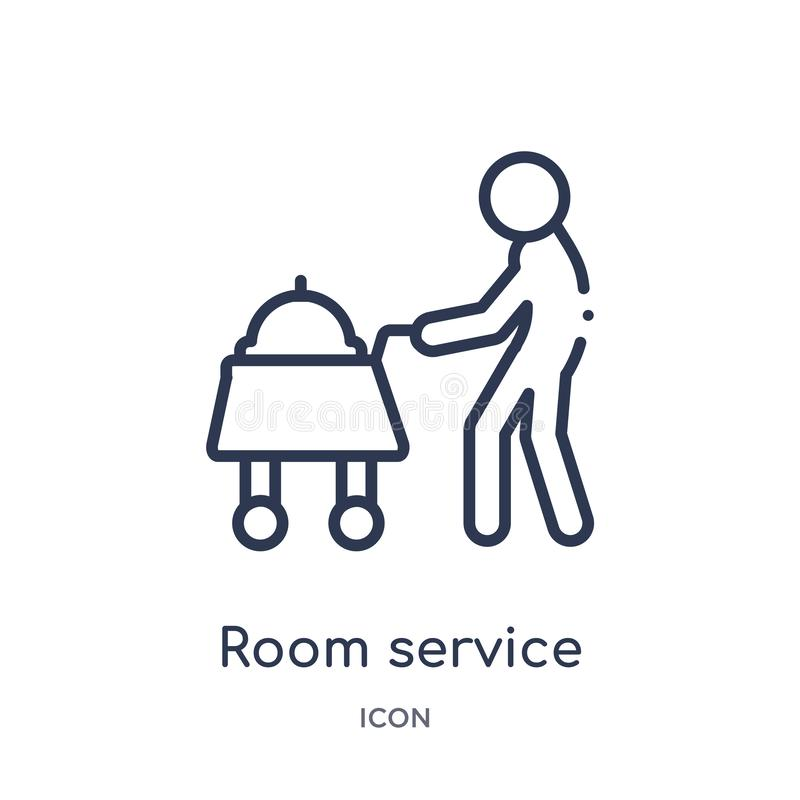 Linear room service icon from Hotel outline collection. Thin line room service icon isolated on white background. room service vector illustration