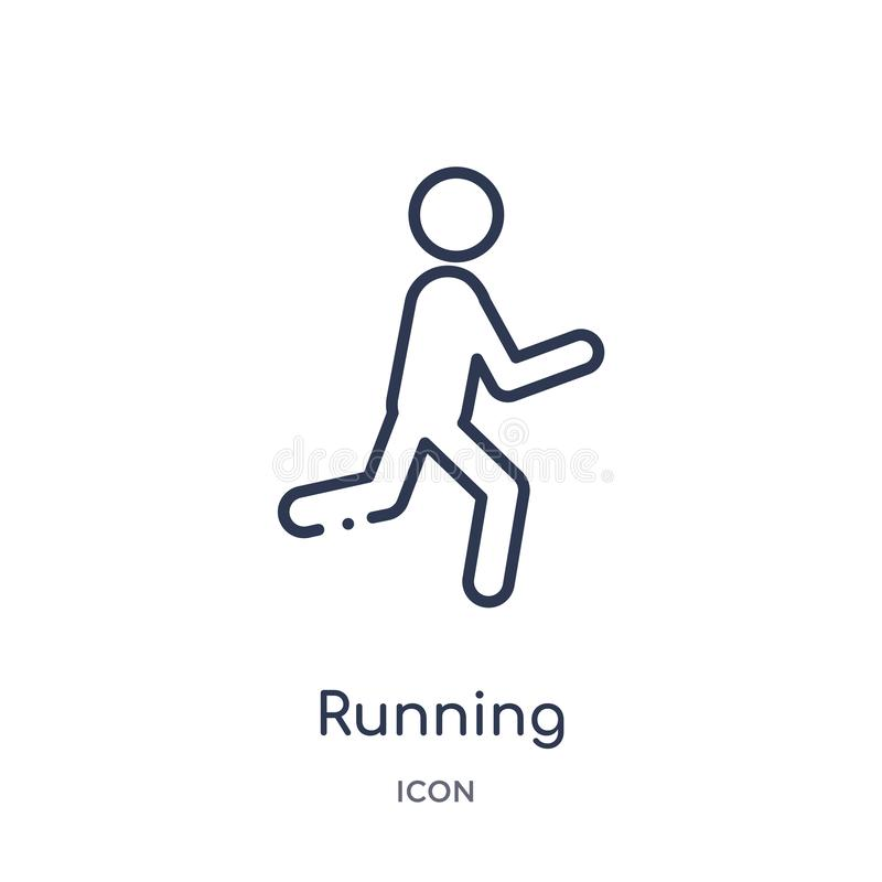 Linear running icon from Health outline collection. Thin line running icon isolated on white background. running trendy stock illustration