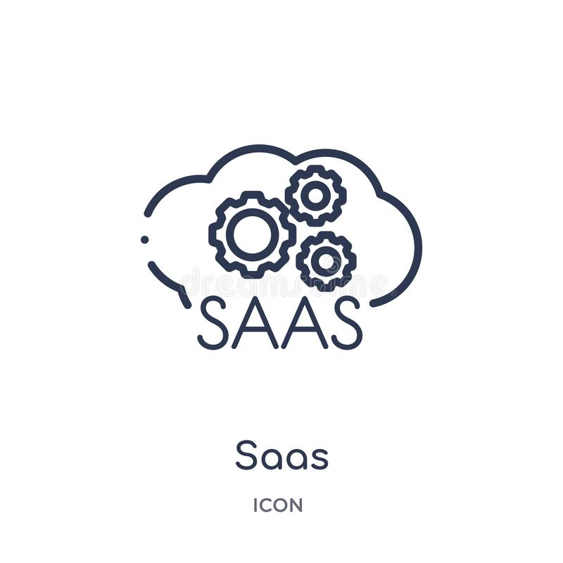 Linear saas icon from General outline collection. Thin line saas icon isolated on white background. saas trendy illustration royalty free illustration