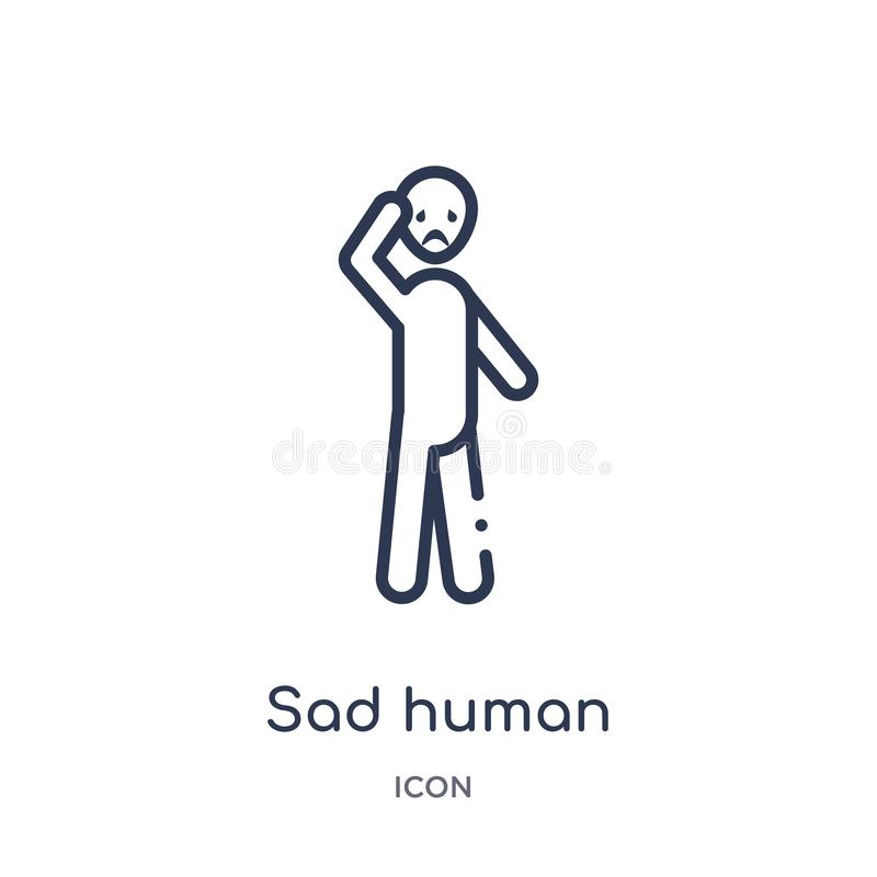 Linear sad human icon from Feelings outline collection. Thin line sad human vector isolated on white background. sad human trendy vector illustration