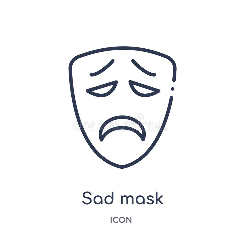 Linear sad mask icon from Cinema outline collection. Thin line sad mask vector isolated on white background. sad mask trendy vector illustration