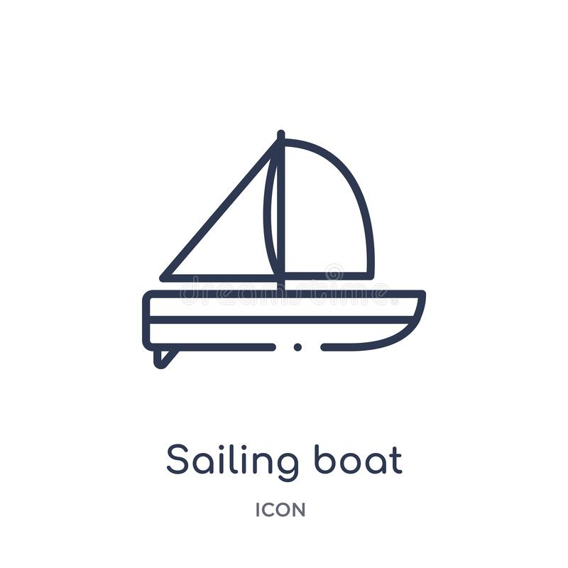 Linear sailing boat icon from Entertainment and arcade outline collection. Thin line sailing boat vector isolated on white. Background. sailing boat trendy vector illustration