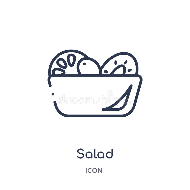 Linear salad icon from Fruits outline collection. Thin line salad icon isolated on white background. salad trendy illustration stock illustration