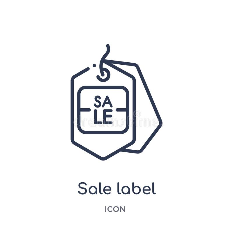 Linear sale label icon from Commerce outline collection. Thin line sale label icon isolated on white background. sale label trendy royalty free illustration
