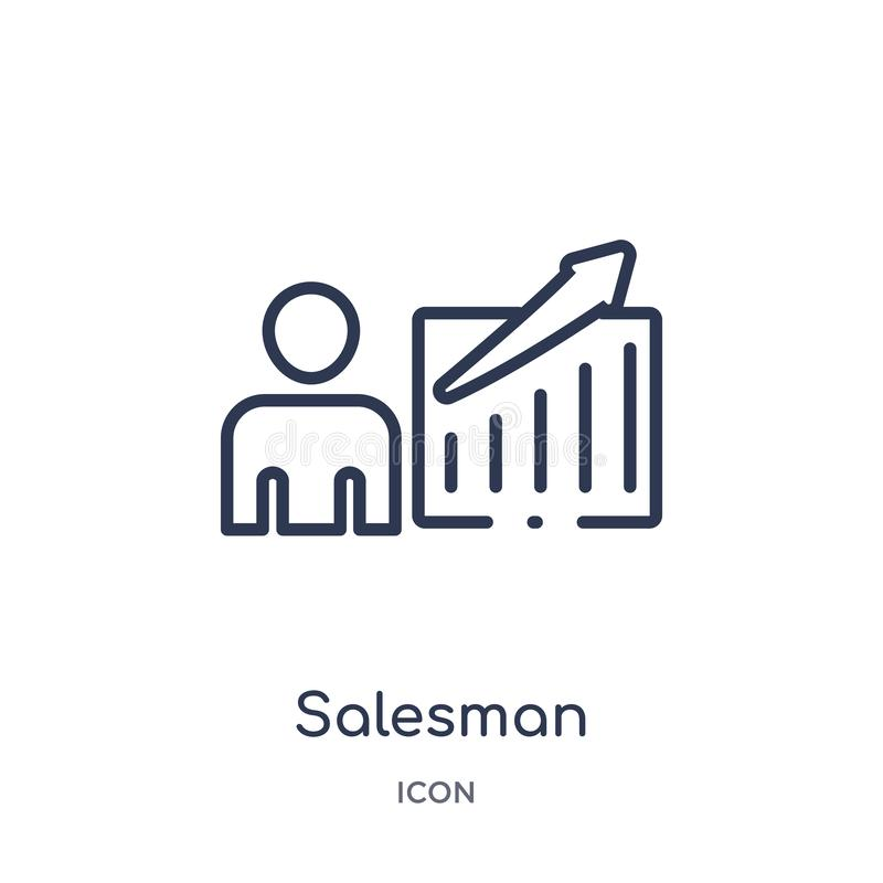 Linear salesman icon from Marketing outline collection. Thin line salesman icon isolated on white background. salesman trendy royalty free illustration