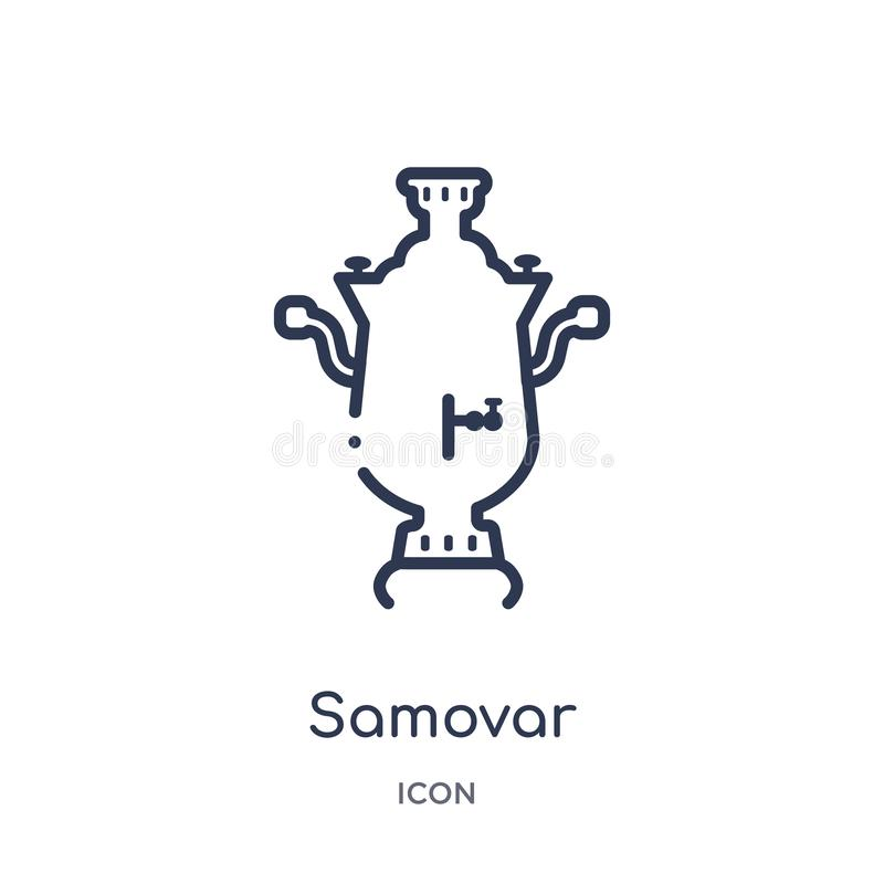 Linear samovar icon from Culture outline collection. Thin line samovar vector isolated on white background. samovar trendy royalty free illustration