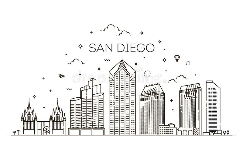 Linear San Diego city skyline vector background stock illustration