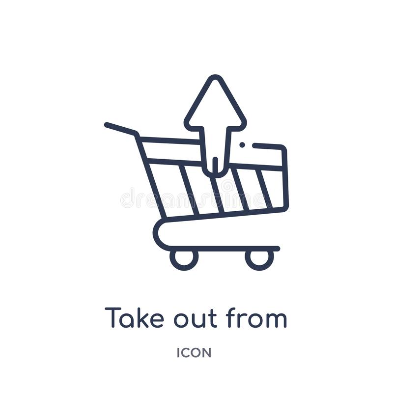 Linear saque del icono del carro de la colección del esquema del comercio La línea fina saca del icono del carro aislado en blanc libre illustration