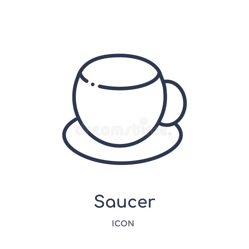Linear saucer icon from Kitchen outline collection. Thin line saucer icon isolated on white background. saucer trendy illustration vector illustration