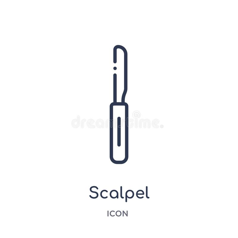 Linear scalpel icon from Medical outline collection. Thin line scalpel icon isolated on white background. scalpel trendy vector illustration