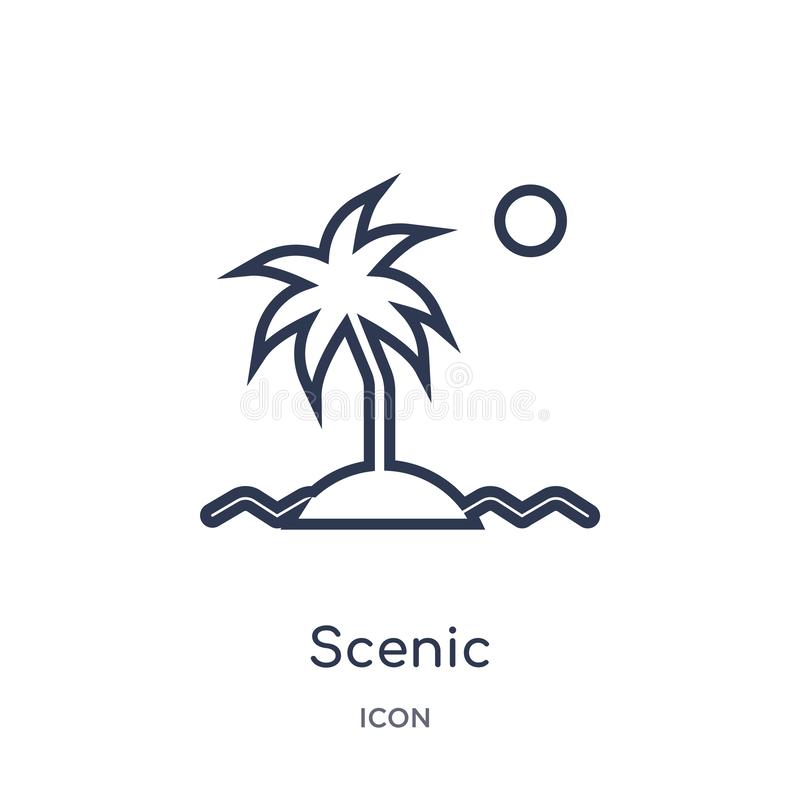 Linear scenic icon from Electronic stuff fill outline collection. Thin line scenic vector isolated on white background. scenic royalty free illustration
