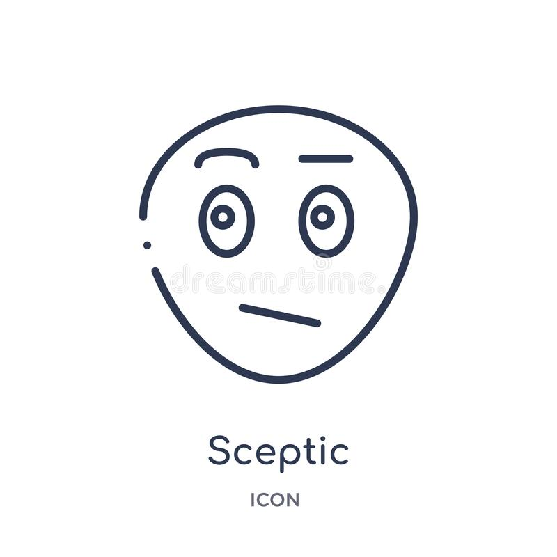 Linear sceptic icon from Emotions outline collection. Thin line sceptic vector isolated on white background. sceptic trendy vector illustration