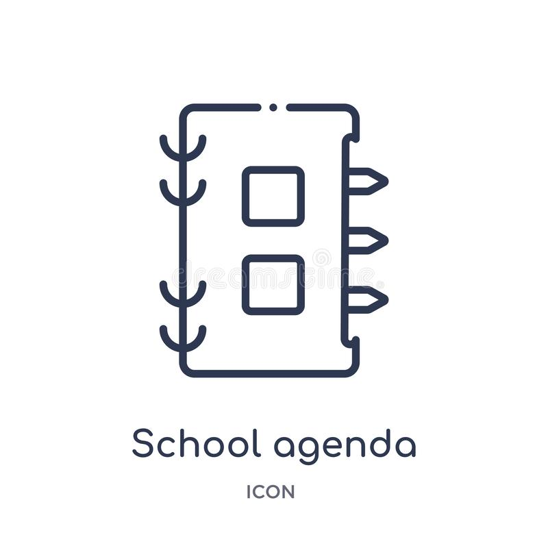 Linear school agenda icon from Education outline collection. Thin line school agenda icon isolated on white background. school vector illustration