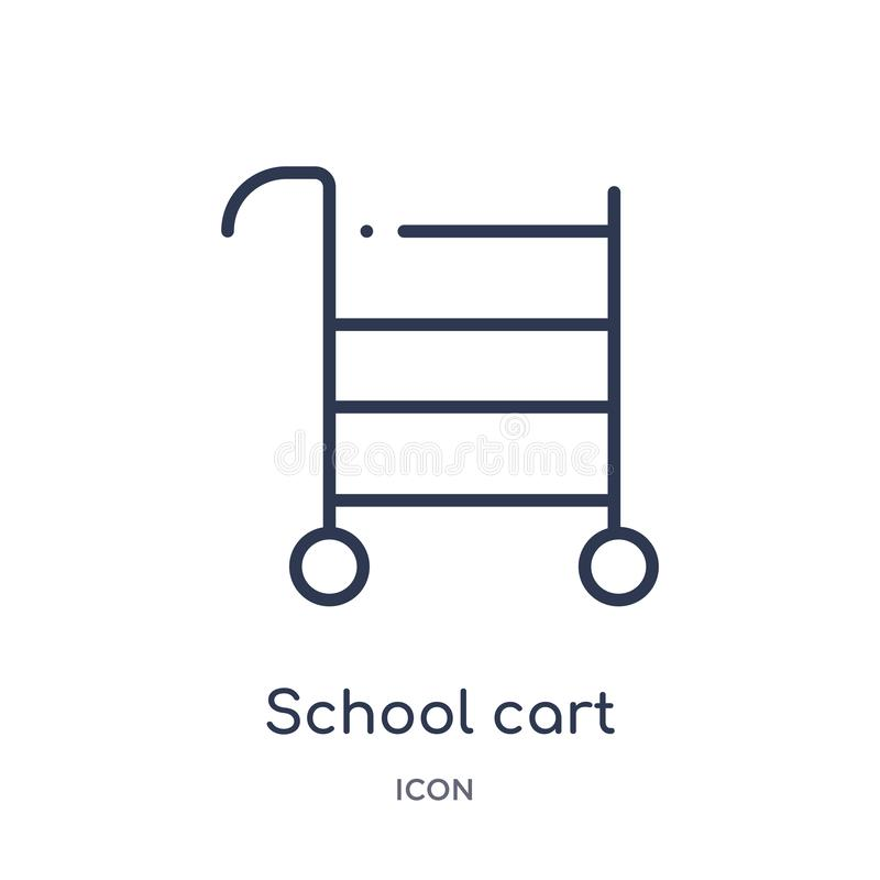 Linear school cart icon from Education outline collection. Thin line school cart icon isolated on white background. school cart vector illustration
