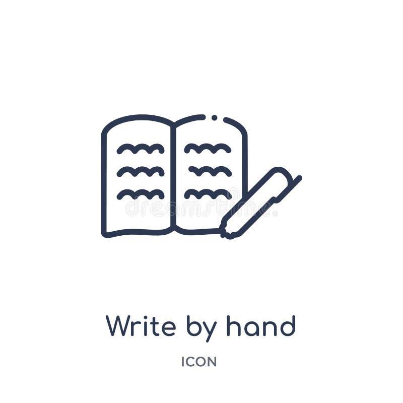 Linear schreiben Sie eigenhändig Ikone von der Ausbildungsentwurfssammlung Dünne Linie schreiben eigenhändig die Ikone, die auf w vektor abbildung