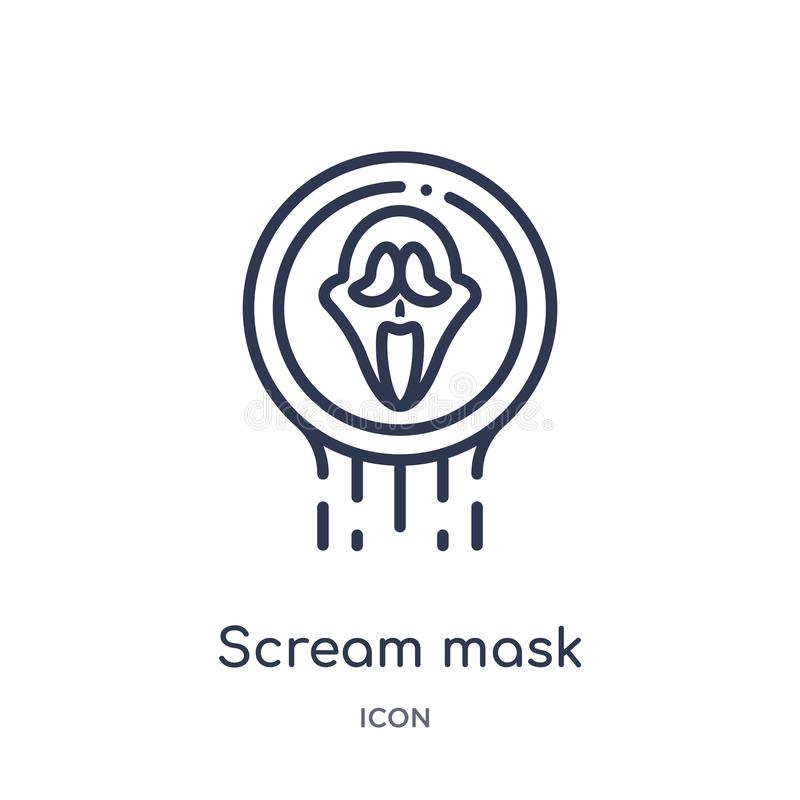 Linear scream mask icon from Logo outline collection. Thin line scream mask icon isolated on white background. scream mask trendy royalty free illustration