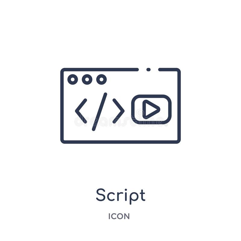 Linear script icon from Blogger and influencer outline collection. Thin line script vector isolated on white background. script vector illustration
