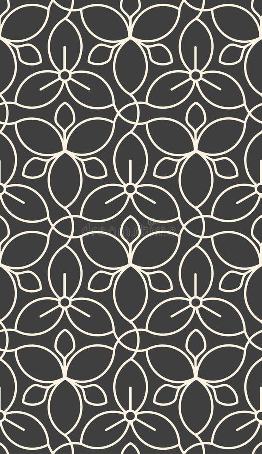 Linear seamless flower pattern royalty free illustration