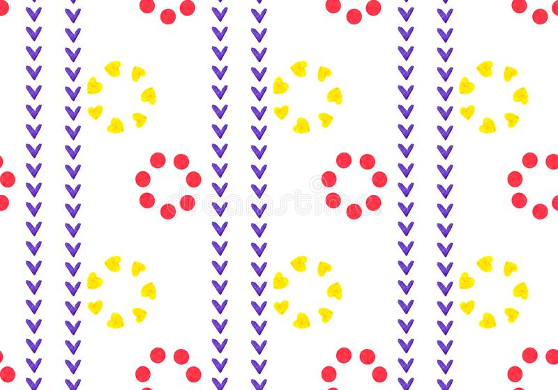 Linear seamless geometric pattern of red and yellow flowers. Petals of squares, heart and circle. Ornament in ethnic style royalty free illustration