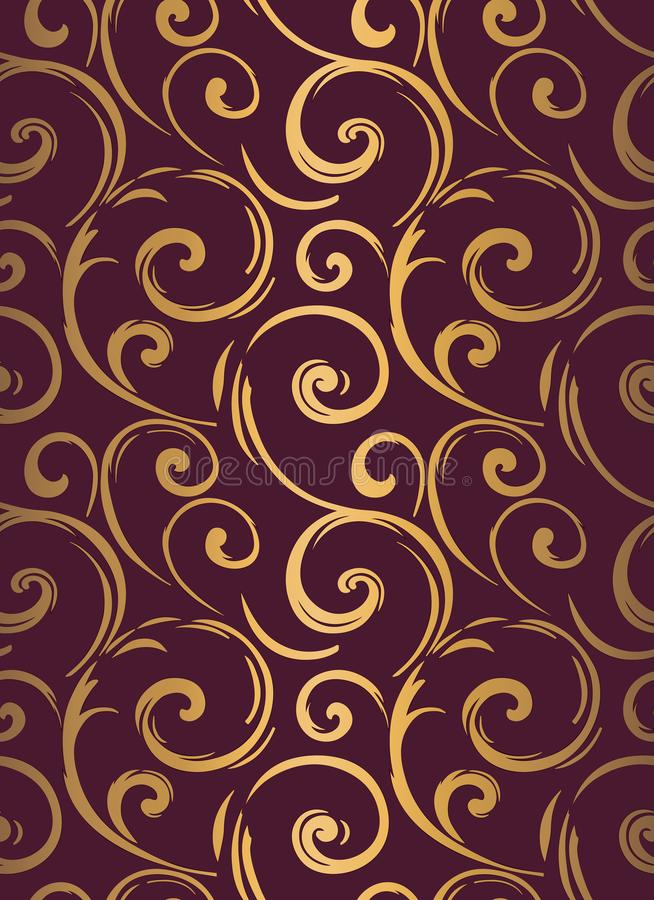 Linear seamless pattern. Stylish decor with elegant lines and curls. Decorative ornamental lattice. Abstract seamless geometric pa royalty free illustration