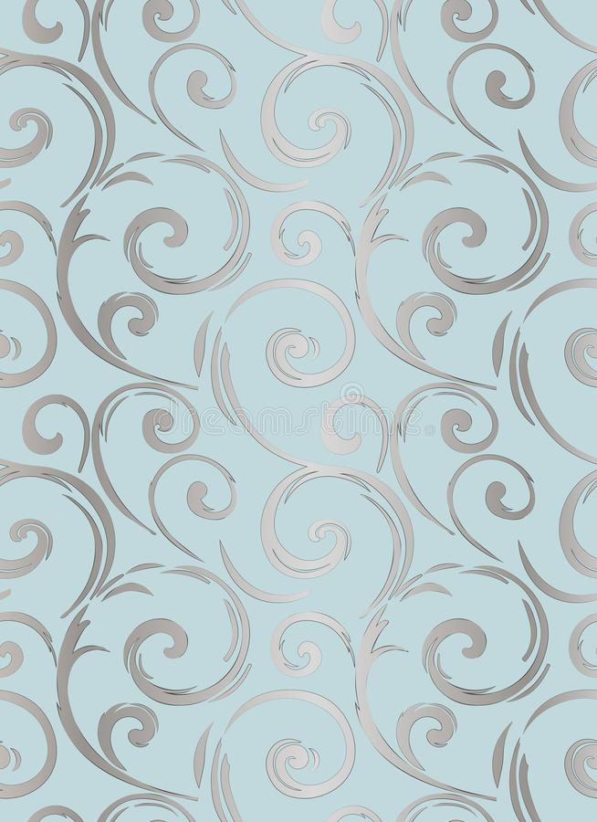Linear seamless pattern. Stylish decor with elegant lines and curls. Decorative ornamental lattice. Abstract seamless geometric pa stock illustration