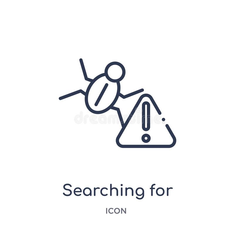 Linear searching for virus icon from Internet security outline collection. Thin line searching for virus icon isolated on white stock illustration