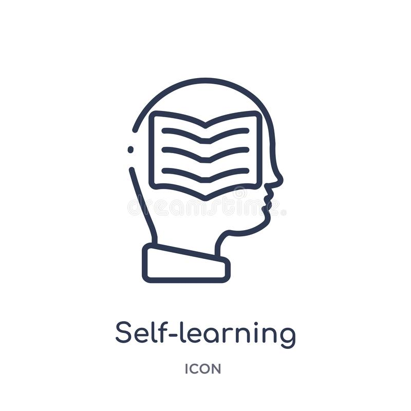 Linear self-learning icon from Elearning and education outline collection. Thin line self-learning vector isolated on white royalty free illustration